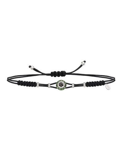 18k Diamond & Garnet Fatima Eye Pull-Cord Bracelet