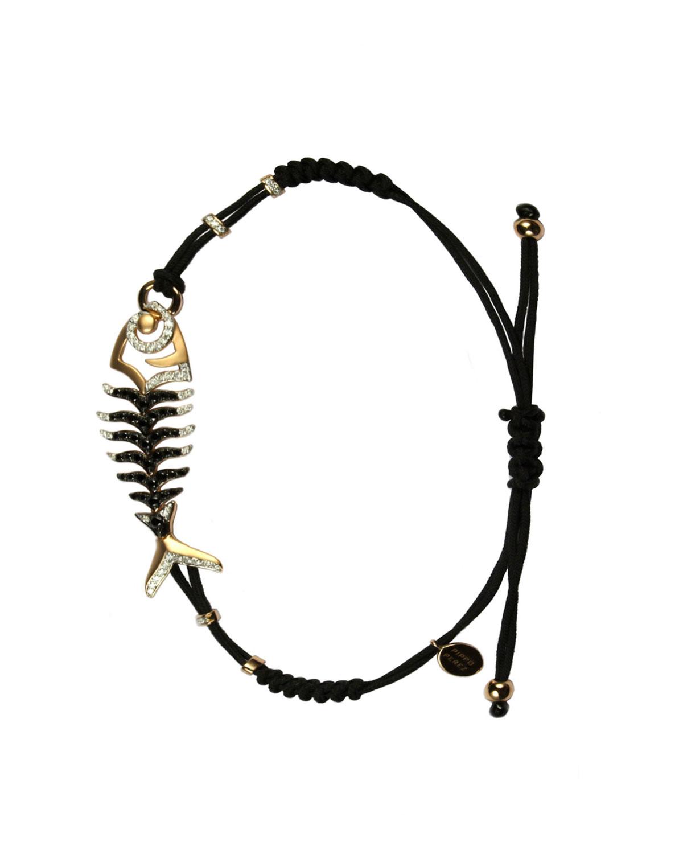 PIPPO PEREZ Pull-Cord Bracelet With Black & White Diamond Fishbone Station