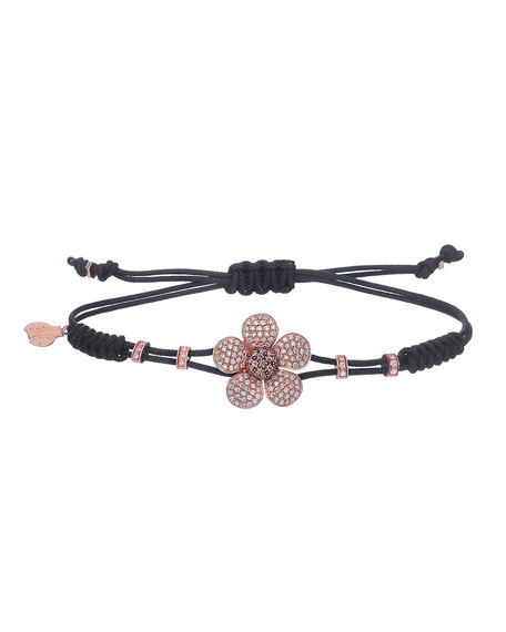 Pippo Perez Pull-Cord Bracelet with Brown Diamond Daisy in 18K Gold