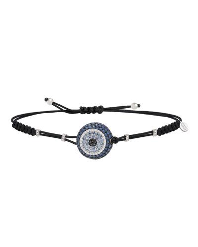 Pull-Cord Bracelet with Blue Sapphire & Diamond Fatima Eye