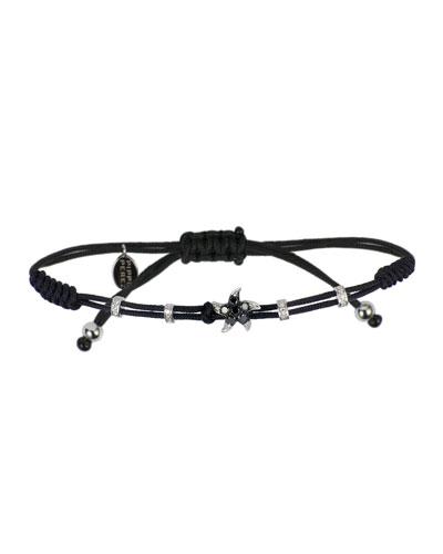 18k White Gold Black & White Diamond Star Pull-Cord Bracelet