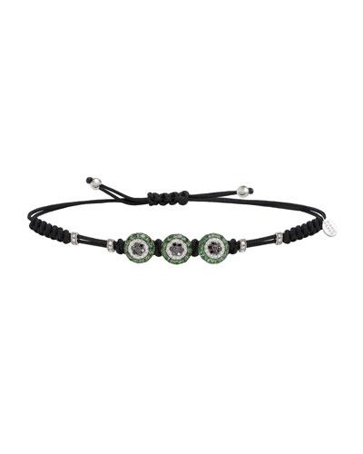 18k Diamond & Garnet 3-Fatima Eye Pull-Cord Bracelet