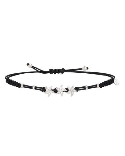 18k White Gold Diamond 3-Star Pull-Cord Bracelet