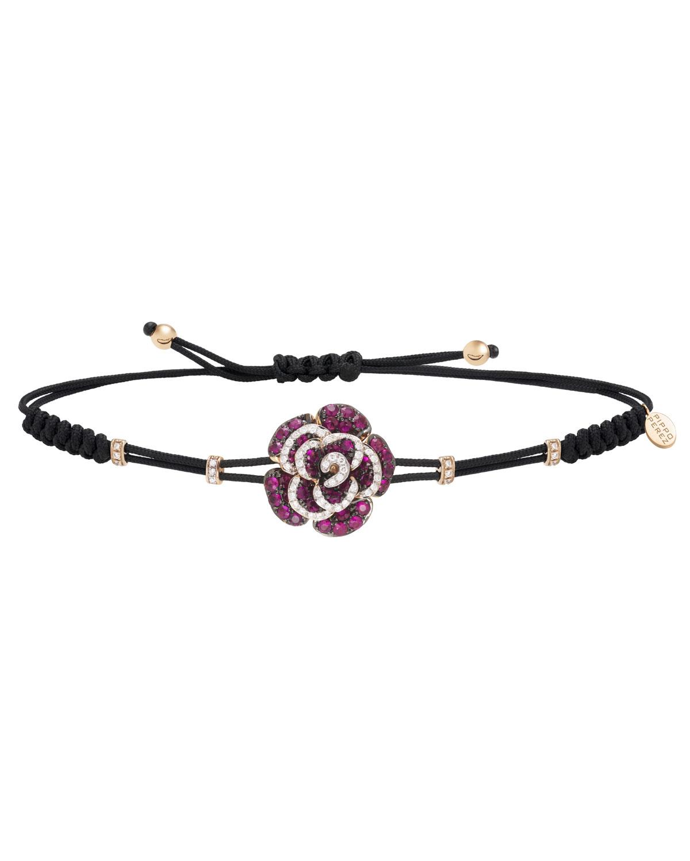 18k Rose Gold Rose Diamond & Ruby Bracelet