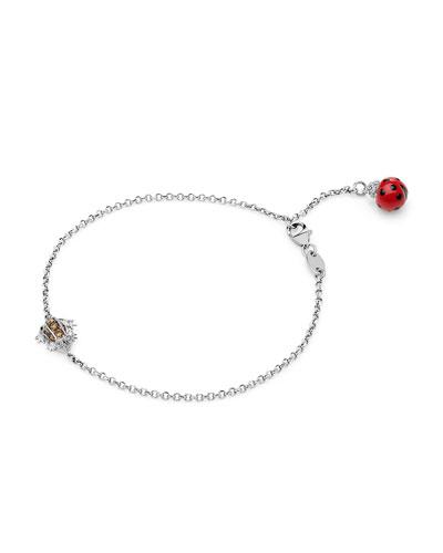 18k White Gold Diamond Frog & Ladybug Chain Bracelet