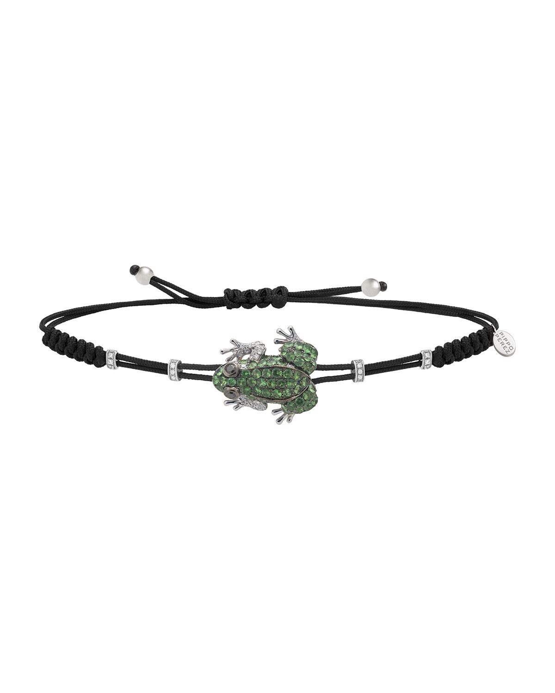 Pull-Cord Bracelet With Green Garnet Frog & Diamond Rondelles
