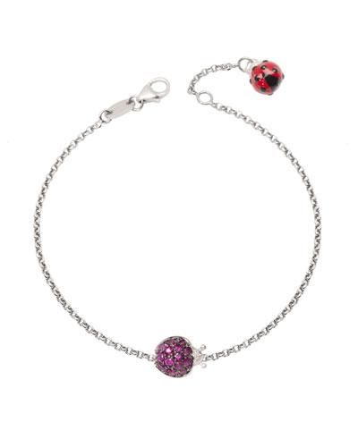 18k White Gold Diamond & Ruby Ladybug Chain Bracelet