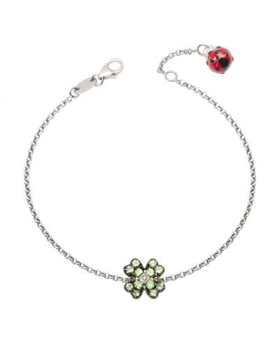 18k White Gold Garnet Clover & Ladybug Chain Bracelet