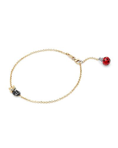 18k Diamond Owl & Ladybug Chain Bracelet