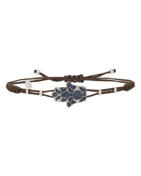 Pippo Perez 18k White Gold Diamond & Sapphire Fatima Hand Bracelet