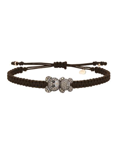 18k Mixed Diamond Teddy Bear Pull-Cord Bracelet