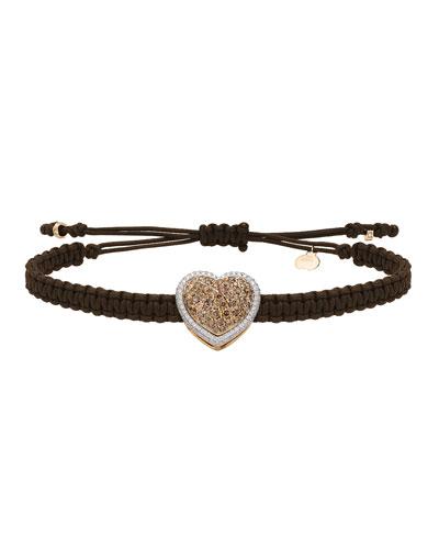 18k Brown & White Diamond Heart Pull-Cord Bracelet
