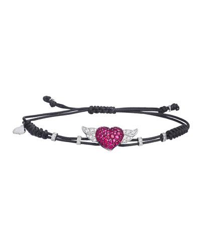 18k Diamond & Ruby Winged Heart Pull-Cord Bracelet