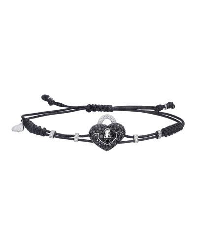 18k Black & White Diamond Heart Lock Pull-Cord Bracelet