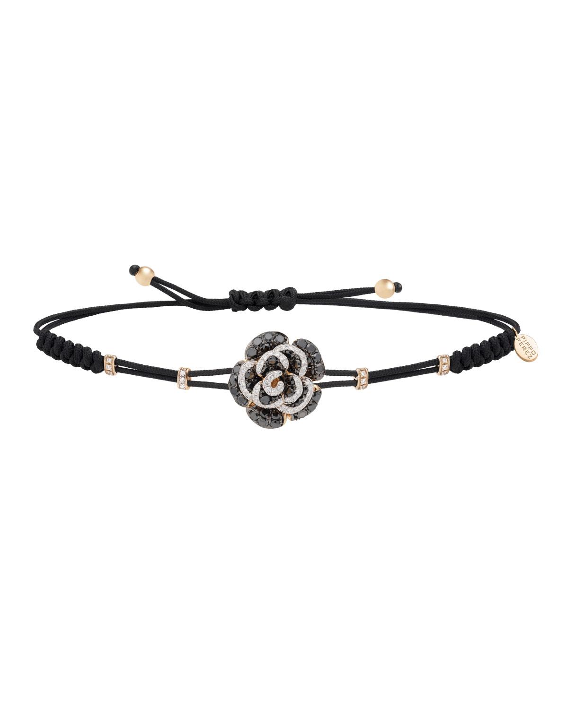 PIPPO PEREZ Pull-Cord Bracelet With Black & White Diamond Rose In 18K Yellow Gold