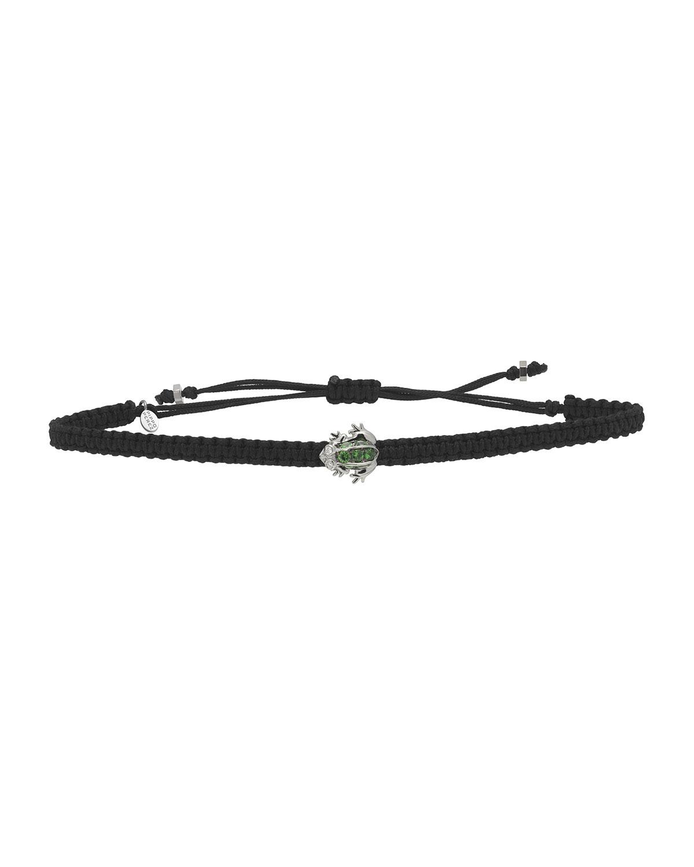 Pull-Cord Bracelet With Garnet Frog