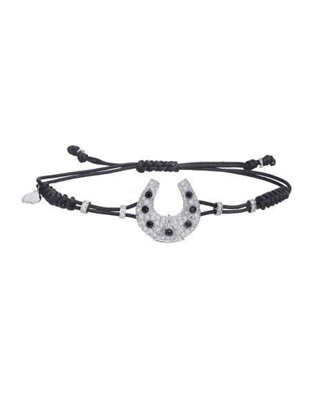 Pippo Perez 18k White Gold Diamond Horseshoe Pull-Cord Bracelet