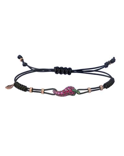 18k Pink Gold, Diamond & Ruby Medium Pepper Pull-Cord Bracelet