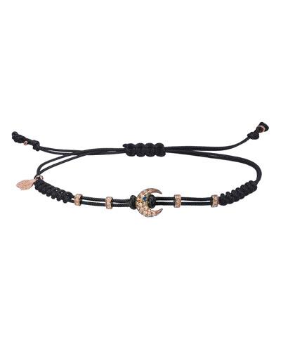 18k Pink Gold Diamond Crescent Pull-Cord Bracelet
