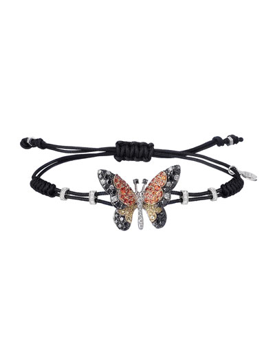 18k Diamond & Sapphire Butterfly Pull-Cord Bracelet