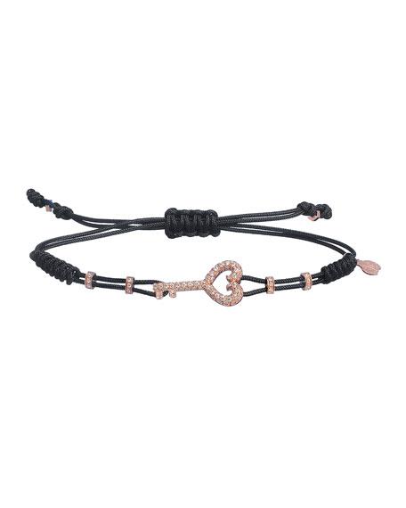 Pippo Perez 18k Rose Gold Diamond Key Pull-Cord Bracelet