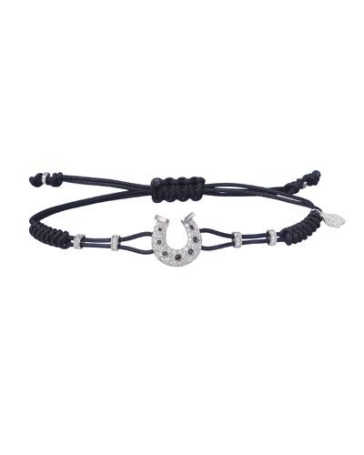 18k White Gold Diamond Horseshoe Pull-Cord Bracelet