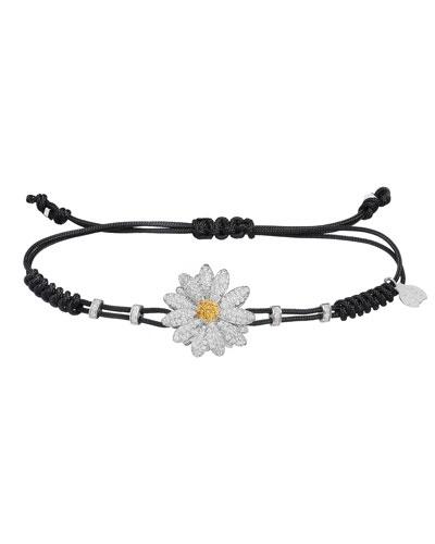 18k White Gold Medium Diamond Daisy Pull-Cord Bracelet