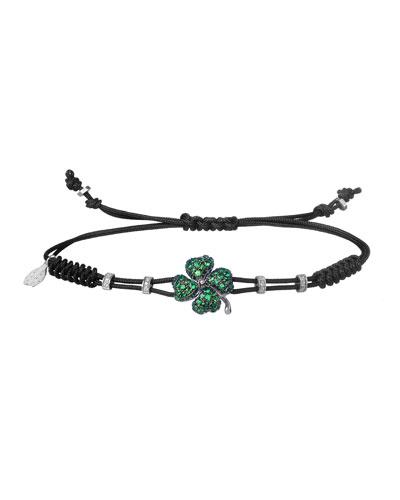 18k White Gold, Diamond & Garnet Clover Pull-Cord Bracelet