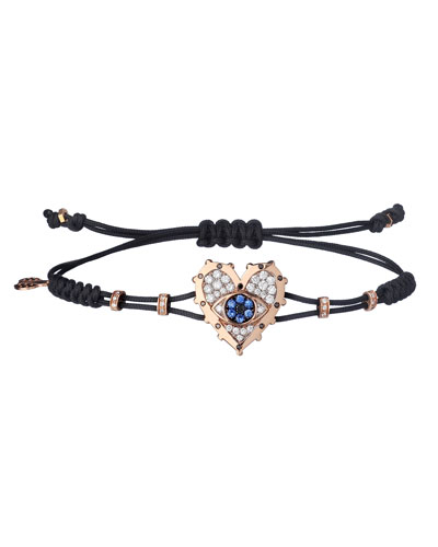 18k Yellow Gold Diamond Heart & Sapphire Evil Eye Bracelet
