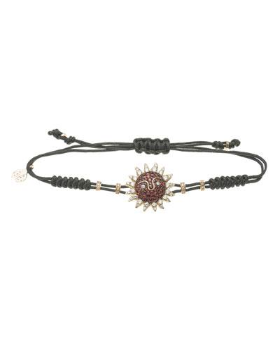 18k Pink Gold Ruby & White Diamond Sun Pull-Cord Bracelet