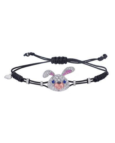 18k White Gold, Diamond & Sapphire Toy Rabbit Pull-Cord Bracelet
