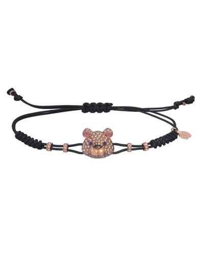18k Pink Gold Brown & White Diamond Toy Bear Pull-Cord Bracelet