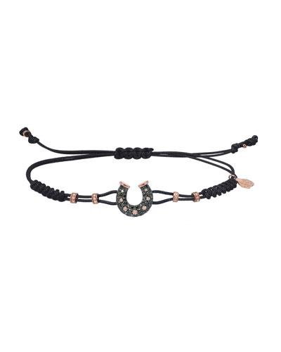 18k Pink Gold Diamond Horseshoe Pull-Cord Bracelet, Black