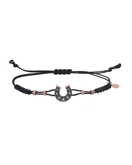 Pippo Perez 18k Pink Gold Diamond Horseshoe Pull-Cord Bracelet, Black