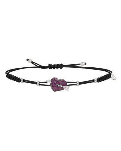 18k Ruby Heart & Diamond Arrow Pull-Cord Bracelet