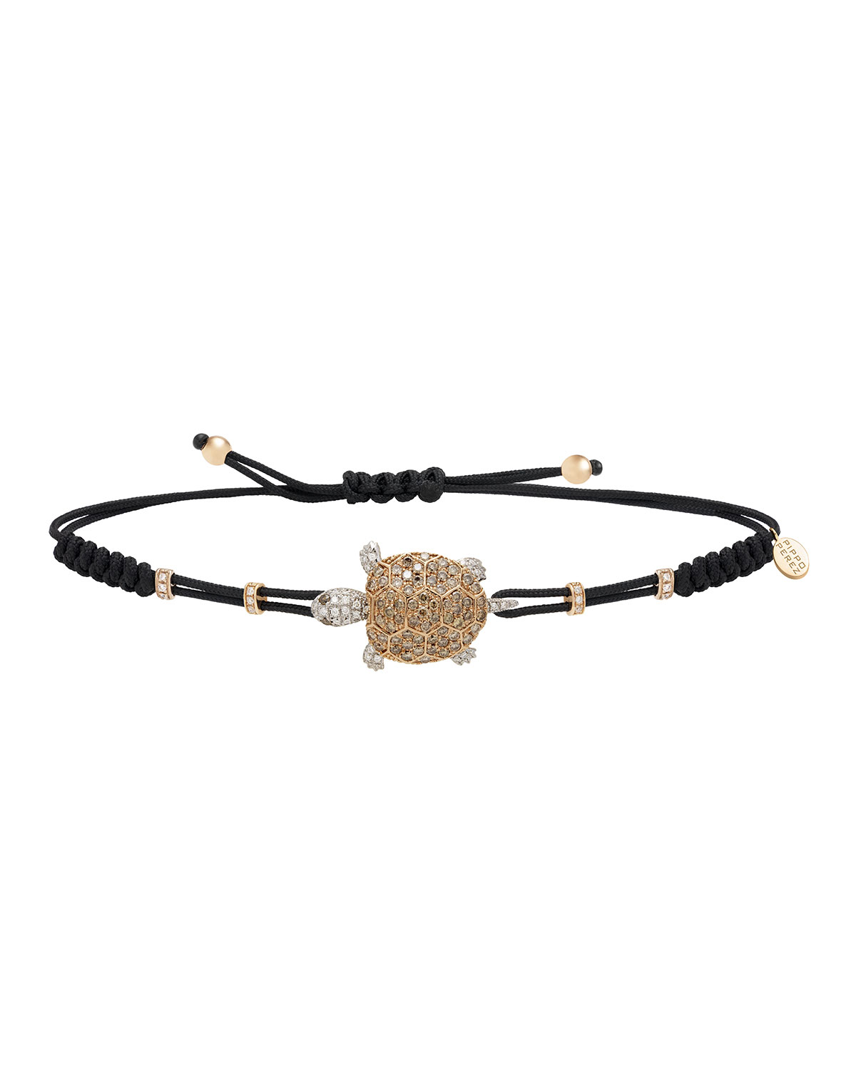 PIPPO PEREZ Pull-Cord Bracelet With Brown Diamond Turtle In 18K Gold