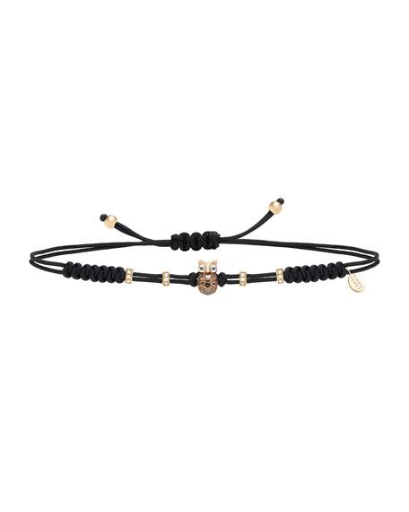 Pippo Perez Pull-Cord Bracelet with Brown Diamond Owl in 18K Gold