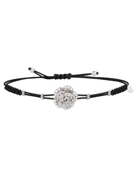 Pippo Perez 18k White Gold Diamond Rose Pull-Cord Bracelet