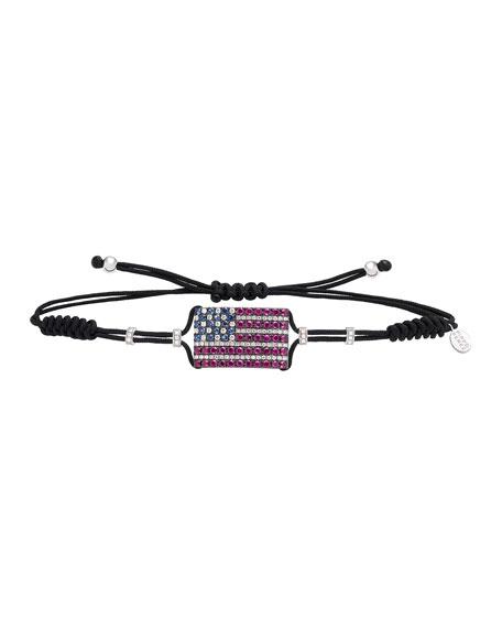 Pippo Perez 18k White Gold American Flag Pull-Cord Bracelet