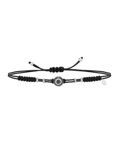 18k Black & White Diamond Fatima Eye Pull-Cord Bracelet
