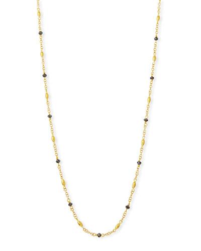 Delicate Hue Long Black Diamond Necklace