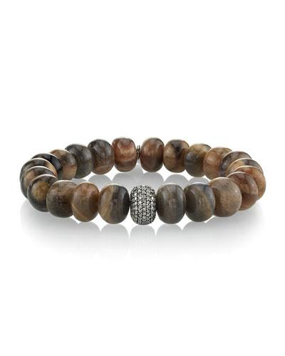 Sunstone & Single Diamond Donut Bracelet