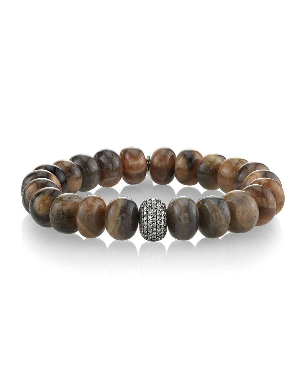 Sunstone & Single Diamond Donut Bracelet, Brown