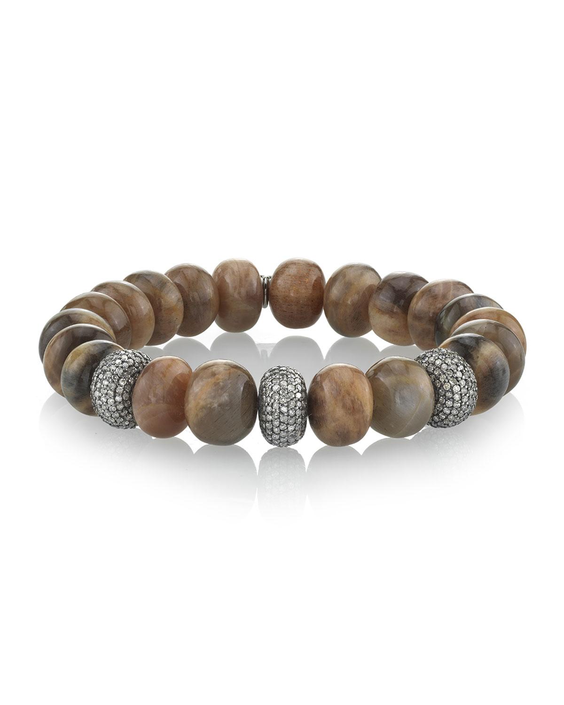 Sunstone & Diamond Donut Bracelet, Brown