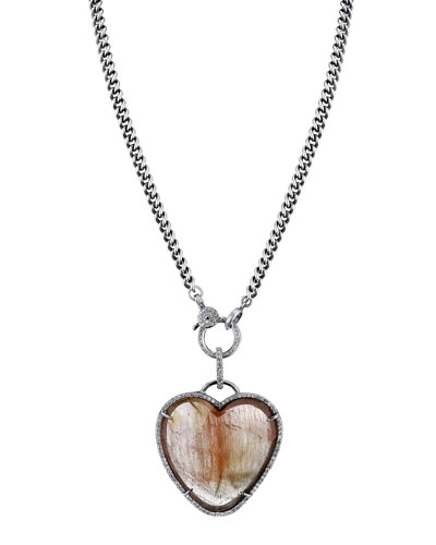 Rutilated Quartz Heart Pendant Necklace
