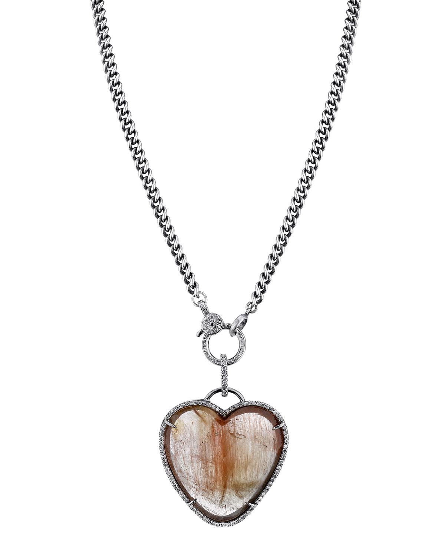 Rutilated Quartz Heart Pendant Necklace, Neutrals