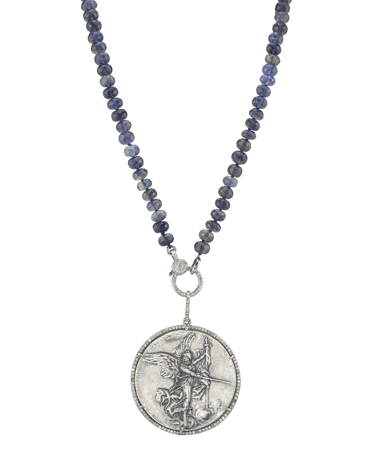 Knotted Iolite & Angel Coin Pendant Necklace, Blue