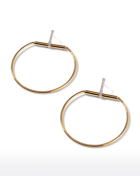 Roberto Coin Classic Parisienne 18k Gold & Diamond Hoop Earrings