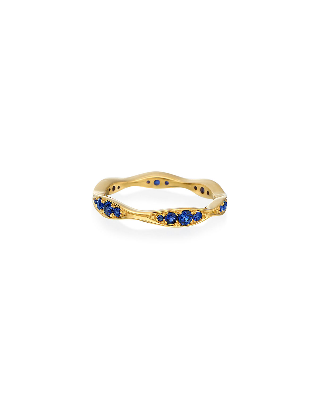18k Gold Blue Sapphire Narrow Wave Ring