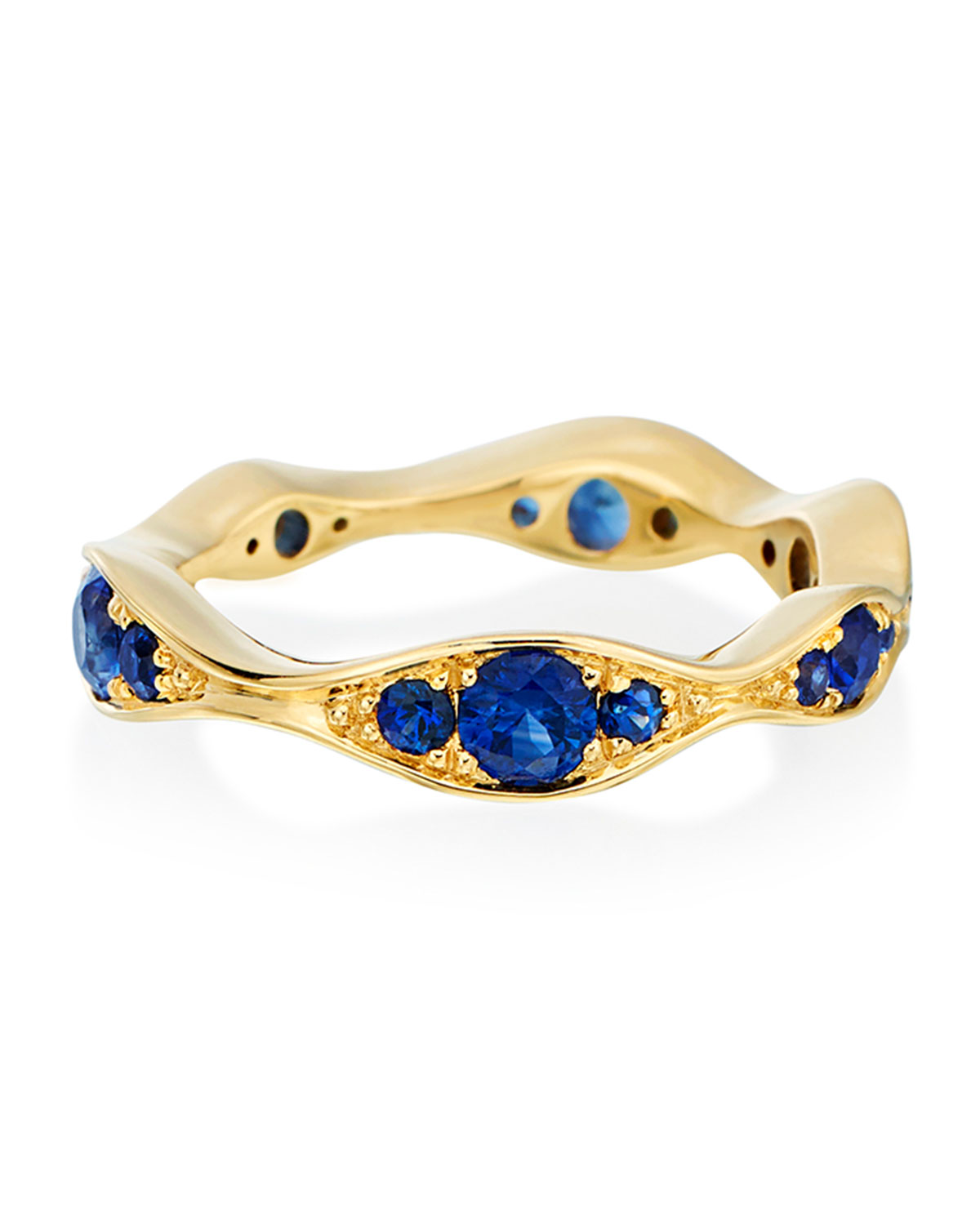 MARIA CANALE 18K Gold Blue Sapphire Wide Wave Ring